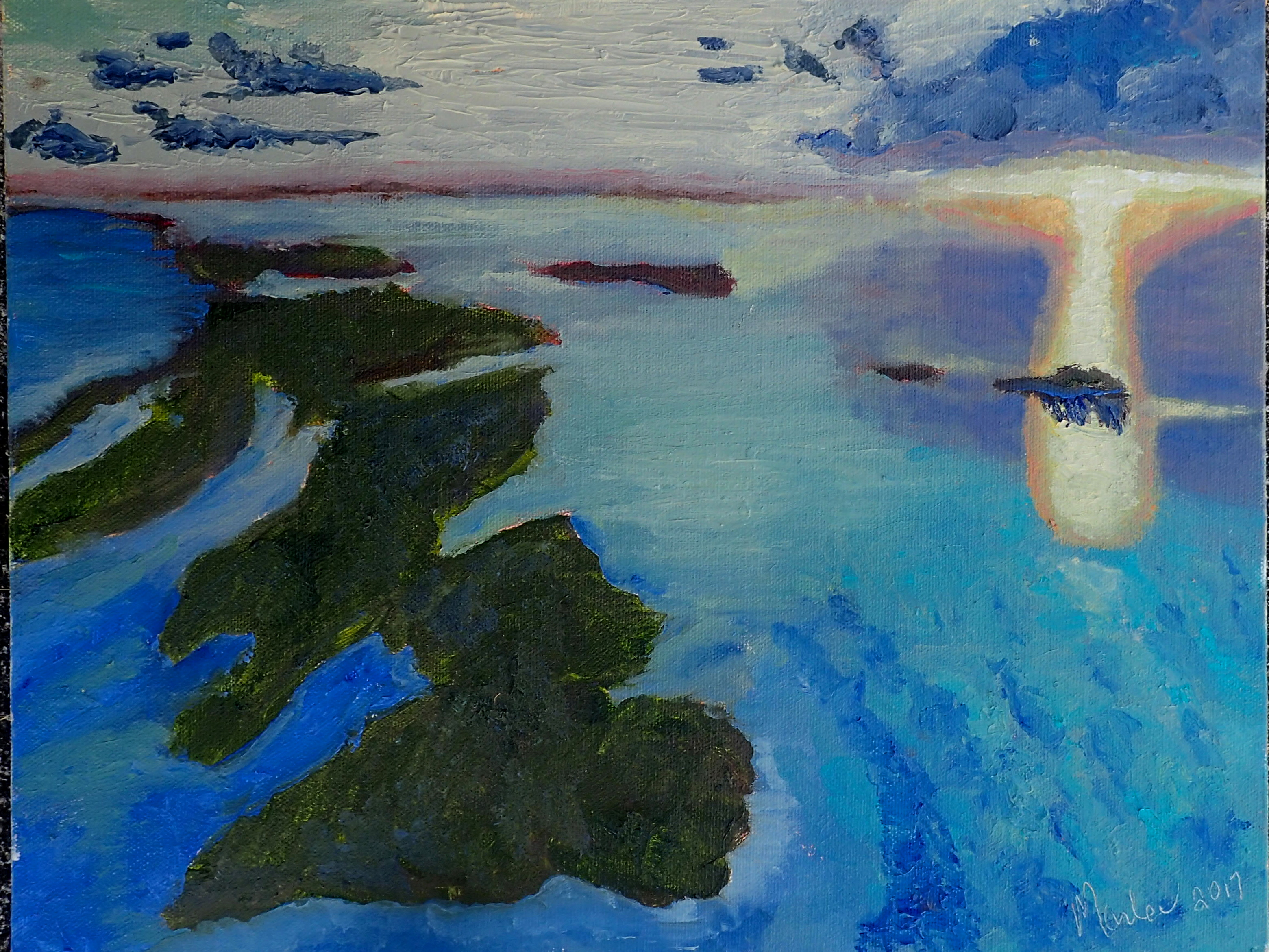 12x16 Original Oil on Canvas         An aerial view of Elbow Cay, Abaco at sunset without the impression of human development.  The sunset cast a heavenly view of this beautiful island.  Photo by Chri