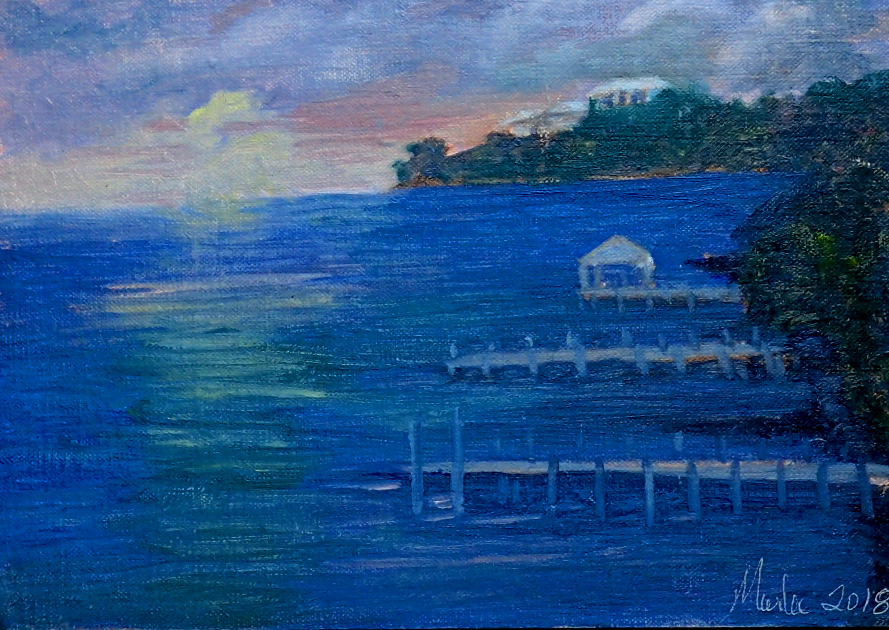 Michies Meditation  8x10  © Marlee Mason Original oil  on  canvas $400.00     My friend Michelle is offered amazing sunset views of the north west island of Guana Cay Abaco