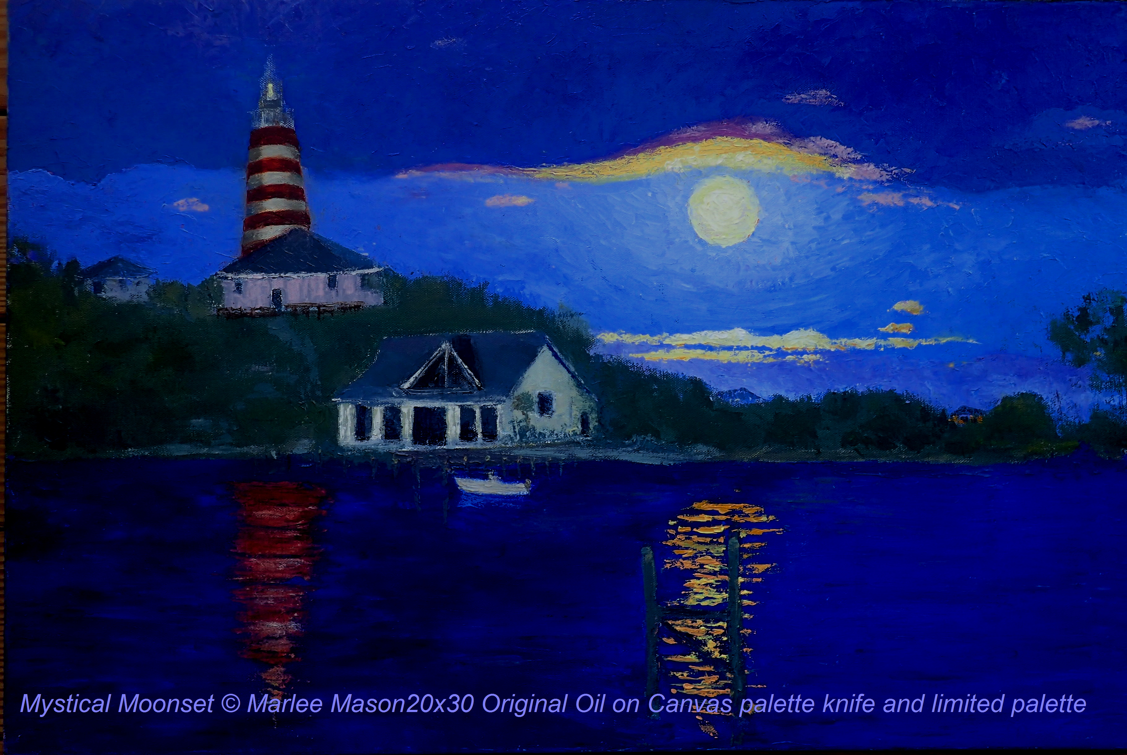 "Original Oil Painting 20""x30"" on Canvas.  This is painted using a limited palette and palette knives only.  There are few moments that capture the mystical Hope Town Lighthouse and Harbour as well as"