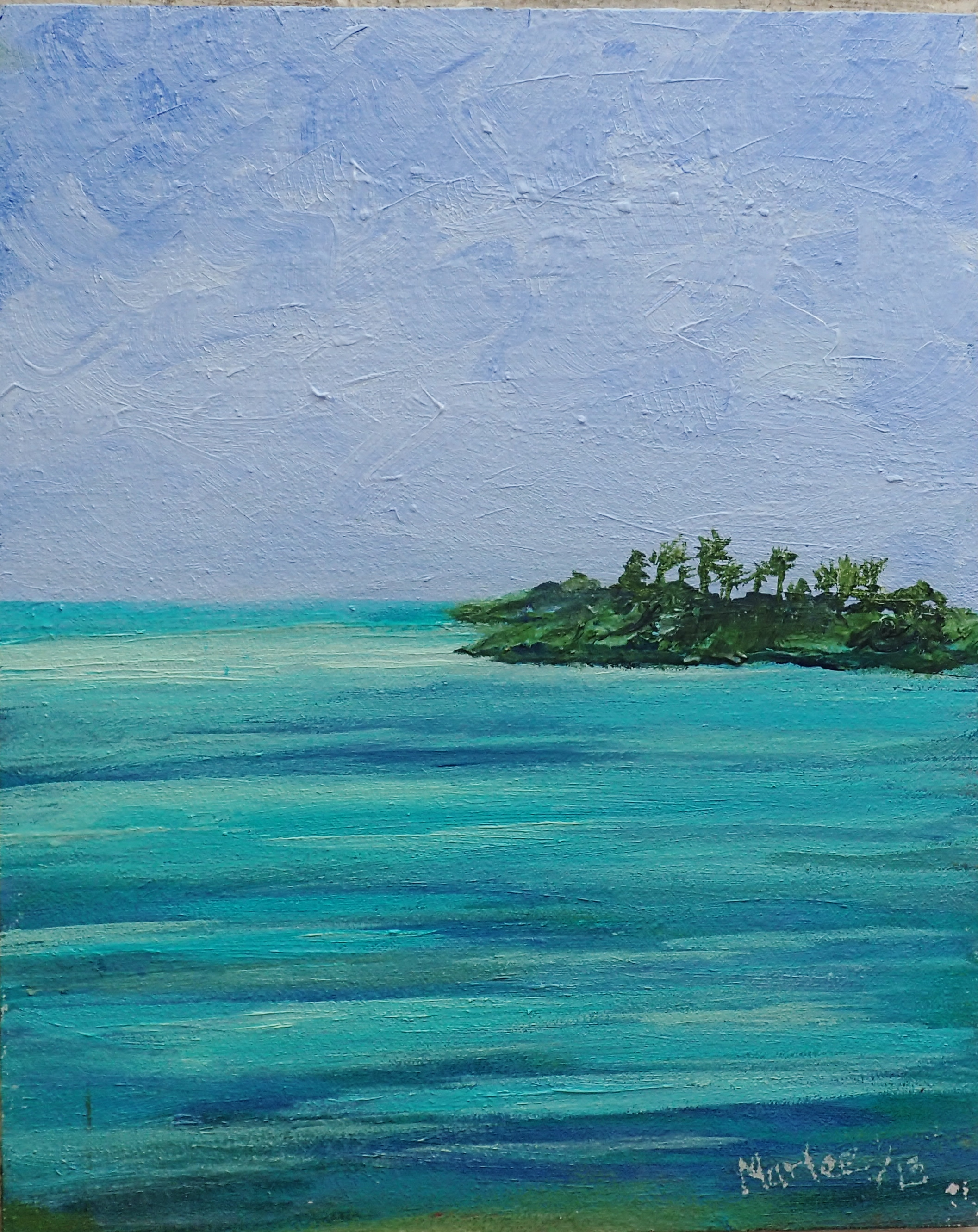 "Original Oil Painting on canvas 8""x10"" is a meditative experience as your eyes are soothed with the still tropical turquoise water of Exuma in The Bahamas"