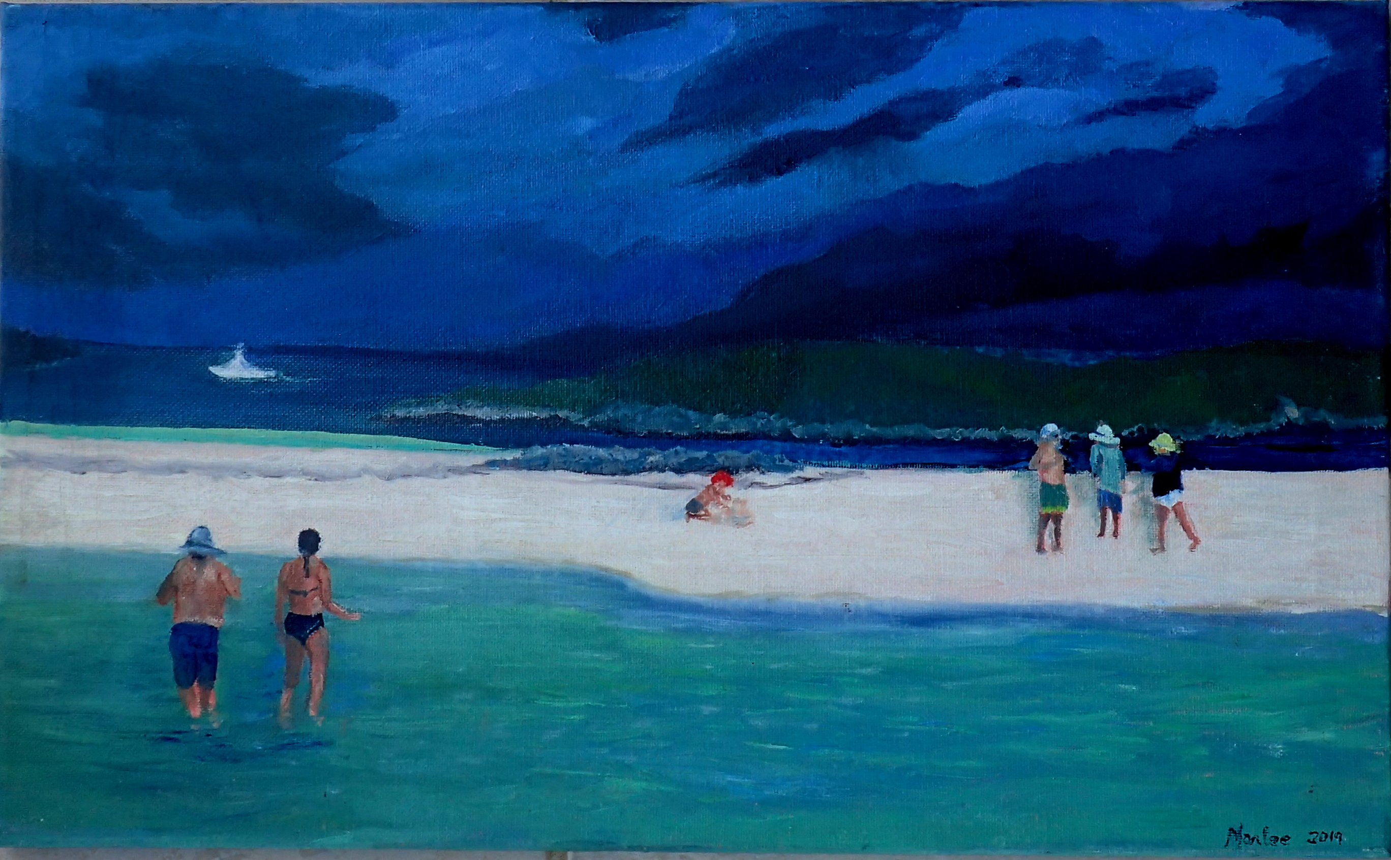 Summer raft ups at Tahiti Beach are a favorite way to socialize on a beautiful sandbar with friends.  A summer squall breaks up the gathering. Original lost in Hurricane Dorian.  Giclee Print availabl