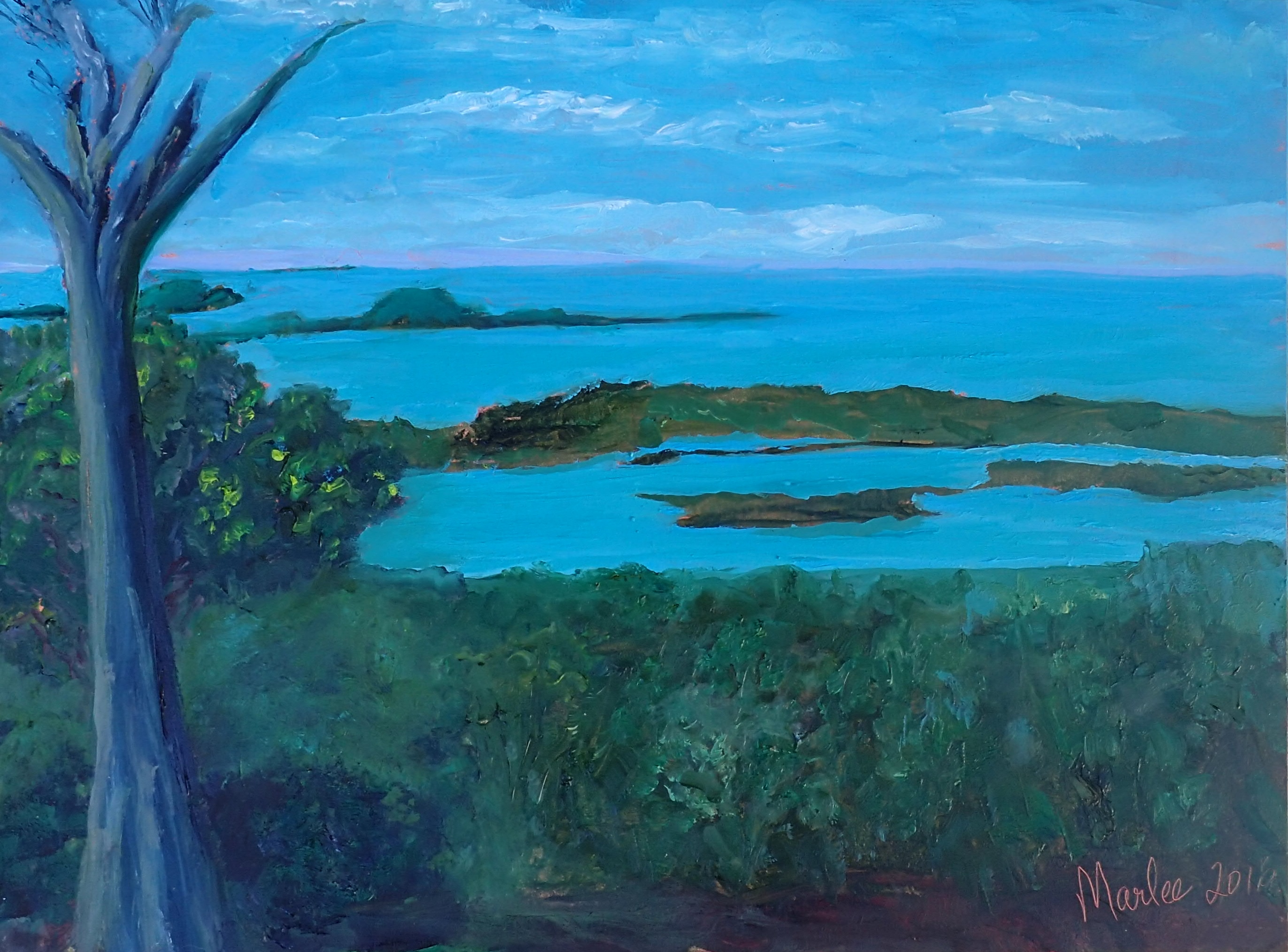 The Schooner Diet 9x12 © Marlee Mason  Original Oil on Canvas this painting captures the south west side of the Abaco Marls seen from the hilltop of Schooner Bay.
