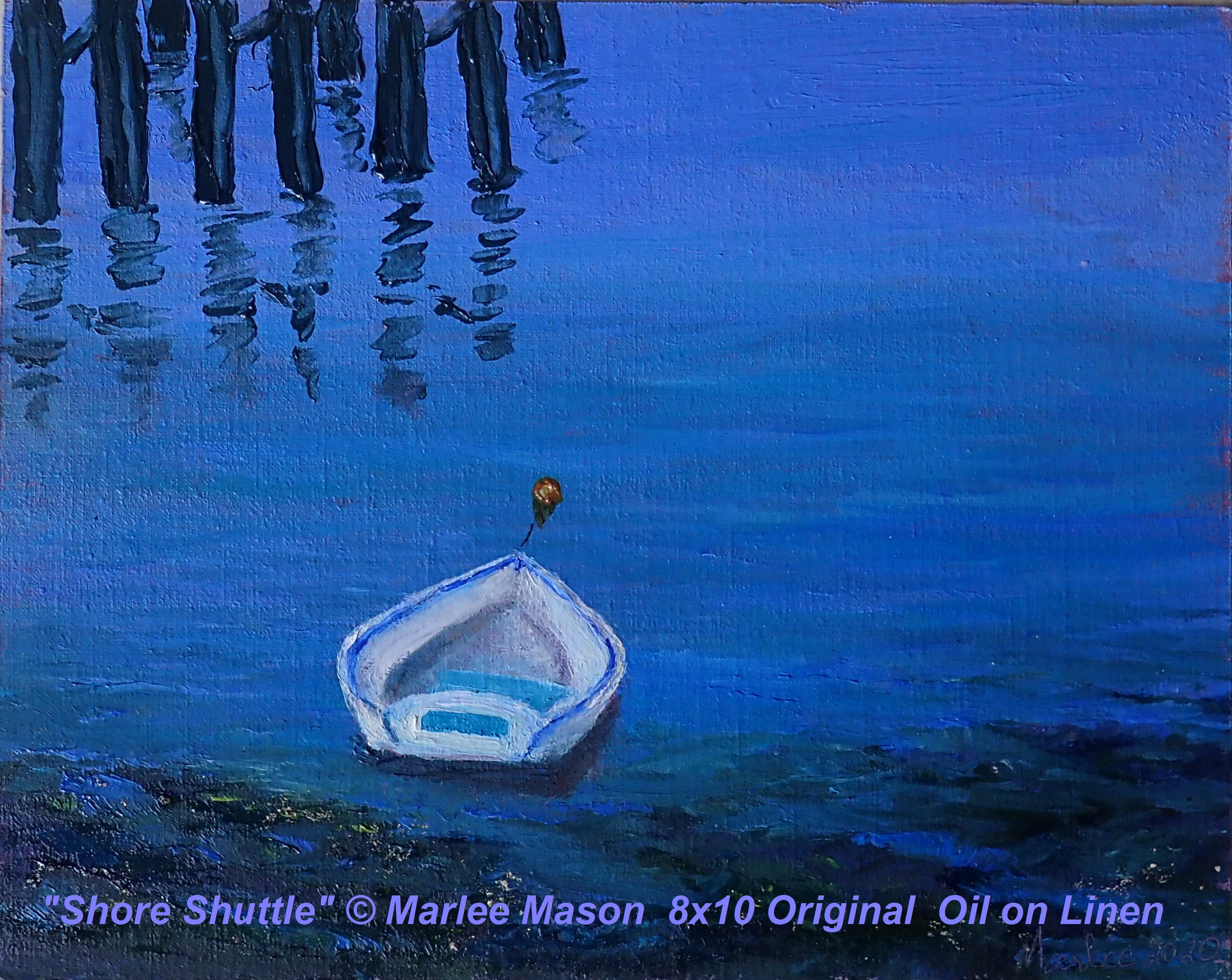"Original Oil 8x10"" on linen canvas © Marlee Mason The small dinghy is an essential life enhancing and sometimes life saving vessel to carry passengers from mother ship to shore for island exploration"