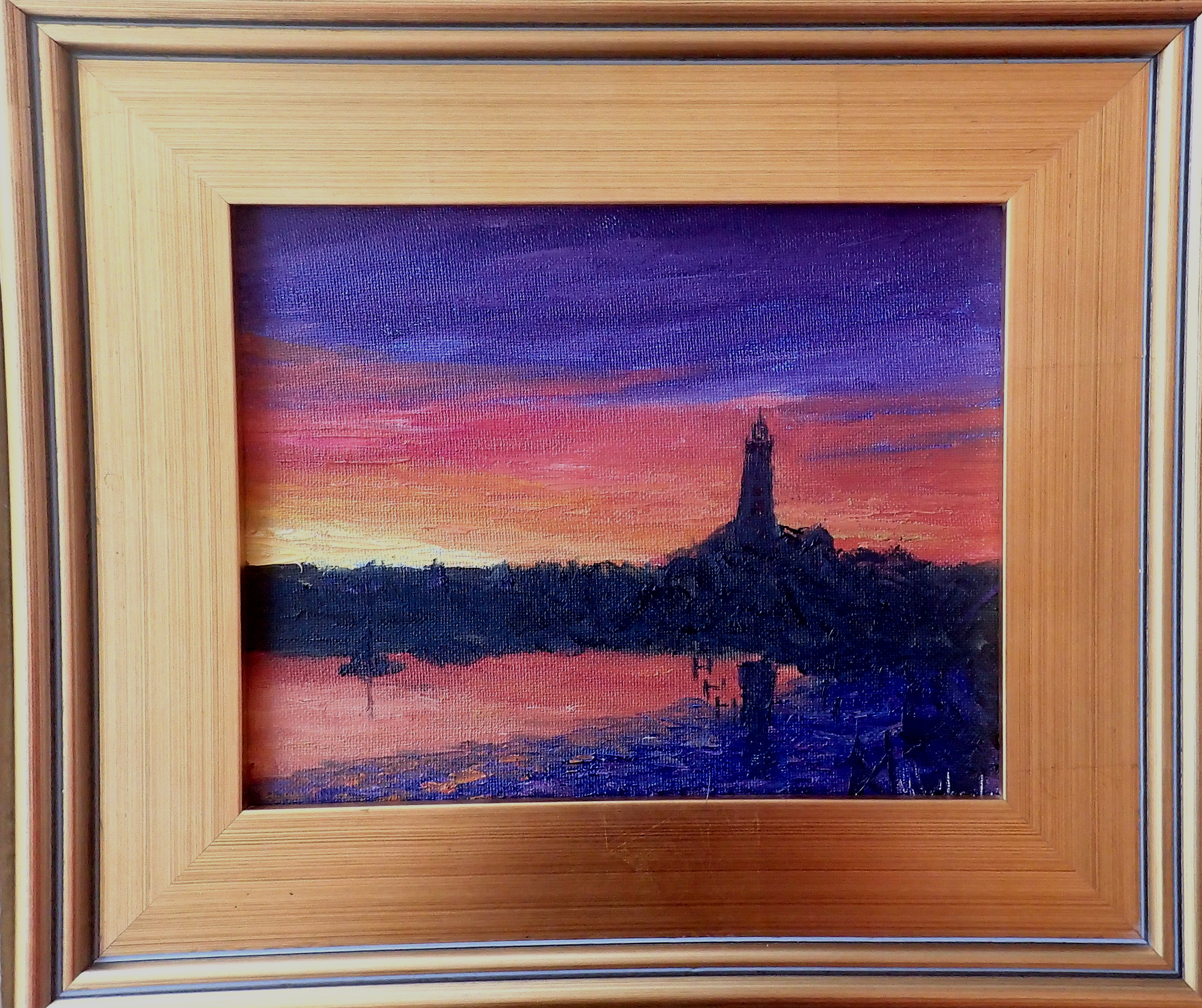 © Marlee Mason 8x10 Original Oil Painting on Canvas   This is a painting of Hope Town Harbour from photograph as darkness looms on a village with the only source of light the sunlight.  Sunset arrive